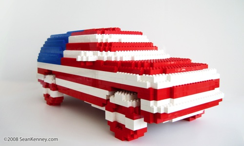 American Flag SUV.  Sculpture with LEGO bricks by artist Sean Kenney.  Chevy Chevrolet Tahoe Suburban Yukon GMC SUV