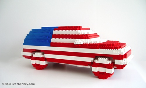 American SUV.  Sculpture with LEGO bricks by artist Sean Kenney