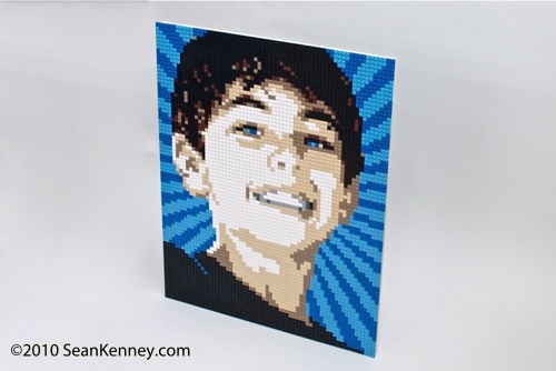Portrait of a boy, LEGO bricks, artist Sean Kenney