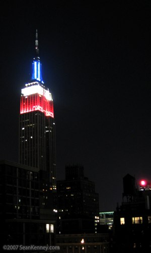 Empire State Building lit at night