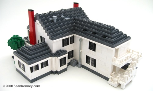 Historic house, LEGO bricks.  By Sean Kenney.  LEGO architecture windows roof chimney rear deck