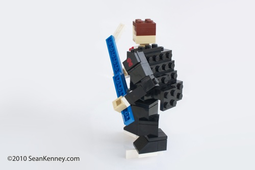 Hockey player LEGO sculpture by Sean Kenney