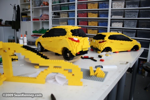 Behind the scenes LEGO art Mazda car sculpture Sean Kenney