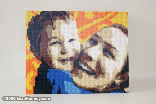 LEGO portrait mother mom and son : by Sean Kenney