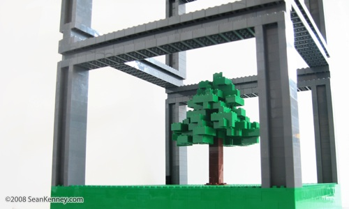 Tree and I-beams.  Art with LEGO bricks by Sean Kenney