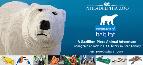 LEGO brick sculptures, artist Sean Kenney.  Creatures of Habitat at The Philadelphia Zoo: LEGO sculptures of endangered species, only at the Philly Zoo.