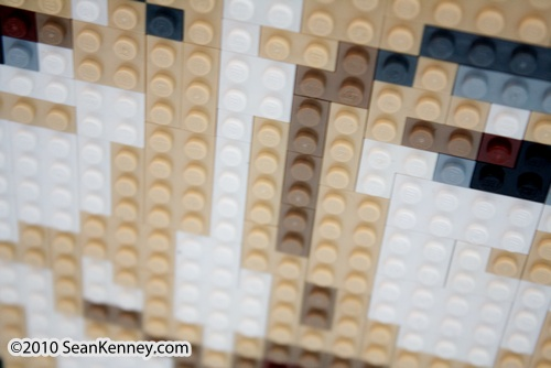 Portrait of Regis Philbin with LEGO bricks by artist Sean Kenney