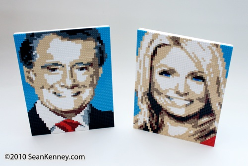 Portrait of Kelly Ripa with LEGO bricks by artist Sean Kenney