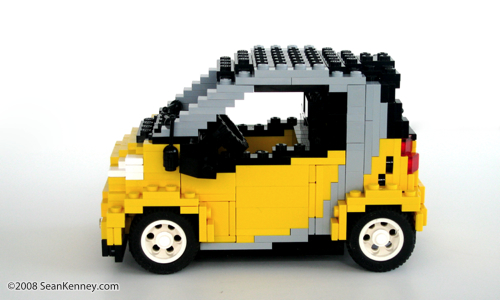 Smart ForTwo built with LEGO bricks by artist Sean Kenney