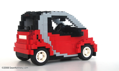 Smart ForTwo Passion sculpture built with LEGO bricks by artist Sean Kenney