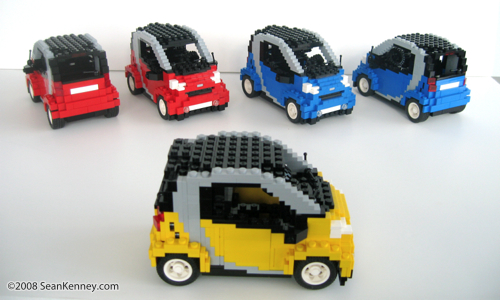Smart ForTwo Pulse model built with LEGO bricks by artist Sean Kenney