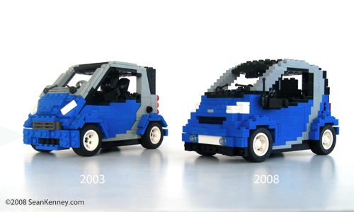 Smart ForTwo Brabus car built with LEGO bricks by artist Sean Kenney
