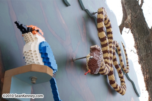 LEGO sculpture Sean Kenney brown tree snake philadephila philly zoo creatures of habitat
