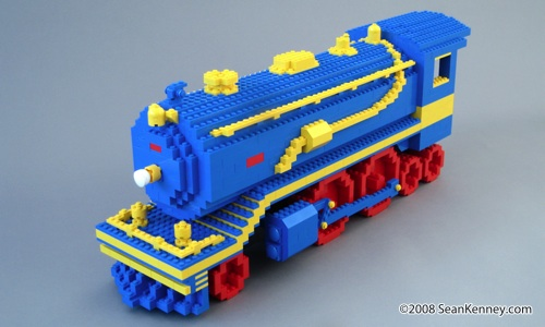 LEGO Steam Train Engine Locomotive Lionel by artist Sean Kenney.  See this LEGO train on NBC's '30 Rock' starring Tina Fey and Alec Baldwin.