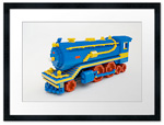 Frames and prints of LEGO train from NBC's '30 Rock'.  Art with LEGO bricks.  Sean Kenney