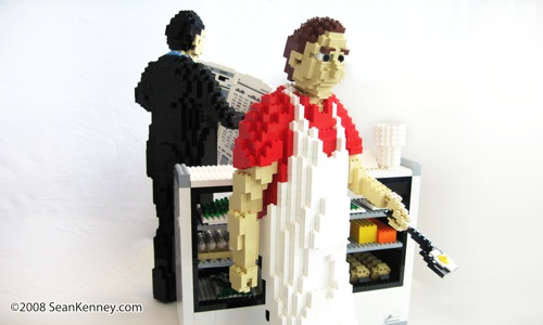 Two short orders: Sculpture created with LEGO bricks by artist Sean Kenney