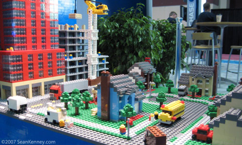 A LEGO town inside the sculpture