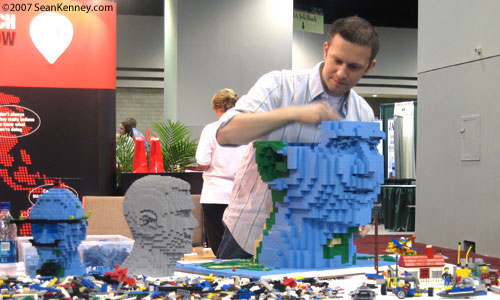 Giant LEGO head built at trade show in 3 days