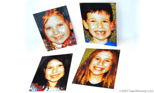 Four children.  LEGO portrait of brothers & sisters