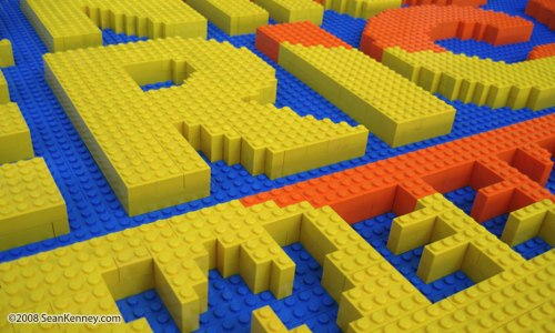 Good Morning America logo built with LEGO bricks
