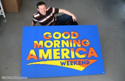LEGO artist Sean Kenney with his Good Morning America logo