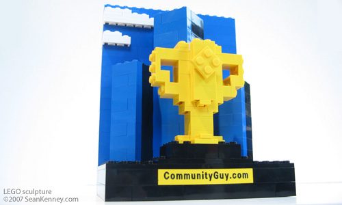 Miniature trophy for Community Guy contest winner