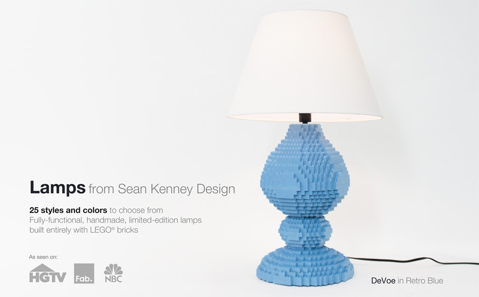 Handmade, fully functional LEGO Lamps from Sean Kenney : 5 styles and 10 colors
