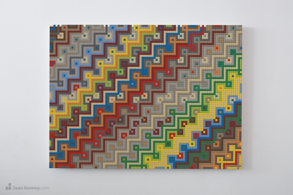Delicieux Geometric Mural Built With LEGO Bricks